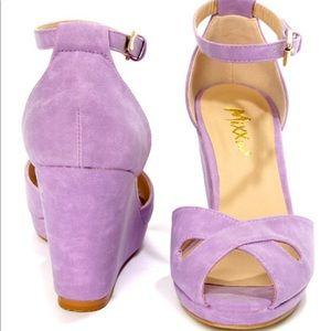 Mixx Shuz Donna lilac peep toe wedge BRAND NEW